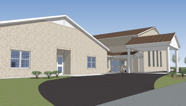 Front View Drawing of Family Life Center
